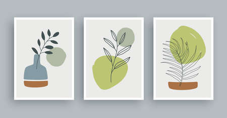 olive branch botanical wall art painting background. Foliage art and hand drawn line with abstract shape. Mid century scandinavian nordic style.