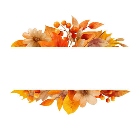 Autumn leaves watercolor frame and border. 免版税图像