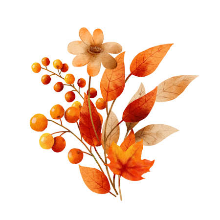Bouquet of autumn leaves watercolor style