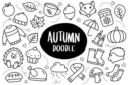 Autumn collection set doodle style. Autumn season hand drawn icon. 矢量图像