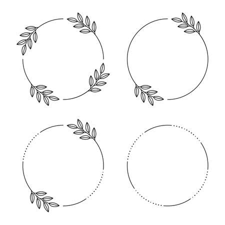 Floral frames circle of leaves. Vintage round frame with wildflowers.
