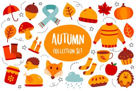 Autumn collection set flat color style. Autumn season icon.
