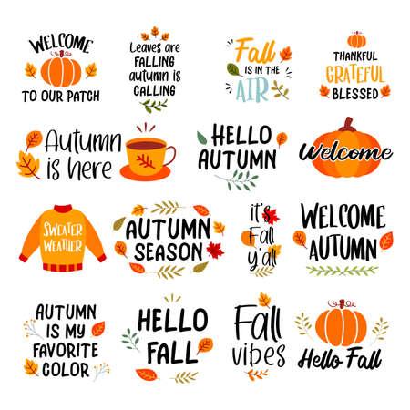 Autumn hand drawn lettering set. Autumn phrases with slogan stickers bundle design.