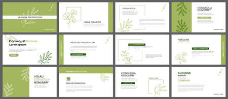 Presentation and slide layout background. Design green leaves template. Use for business keynote, presentation, slide, marketing, leaflet, advertising, template, modern style.