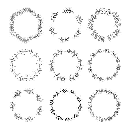 Floral wreath with leaves hand drawn round frames. Wedding wreath decorative leaves elements vintage.