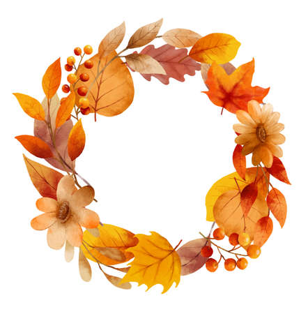 Autumn leaves watercolor wreaths and frame border.