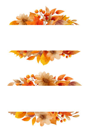 Autumn flower and leaves watercolor style. Wreaths and frame border.