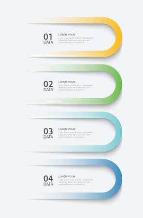 4 data infographics tab paper index template. Vector illustration abstract background. Can be used for workflow layout, business step, banner, web design.