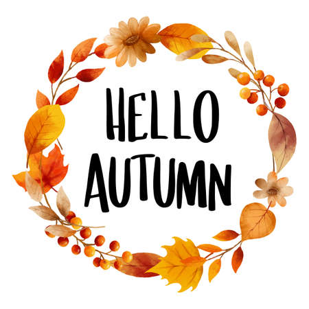 Hello autumn with ornate of leaves flower frame. Autumn october hand drawn lettering template design. 矢量图像