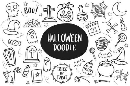 Set of Halloween doodle isolated on white background. 矢量图像