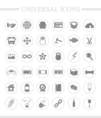 ruby: 36 universal icons for web and mobile. Vector icon set.