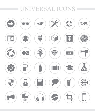 plug hat: 36 universal icons for web and mobile. Vector icon set.