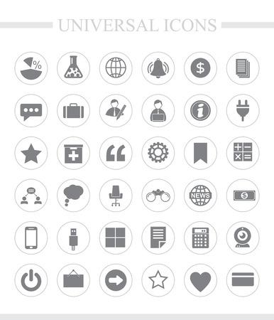 36 universele iconen voor web en mobiel. Vector icon set.