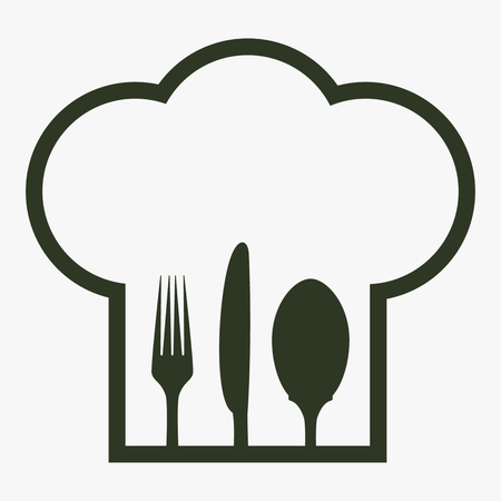 Chef-kokhoed met binnen vork, lepel en mes.