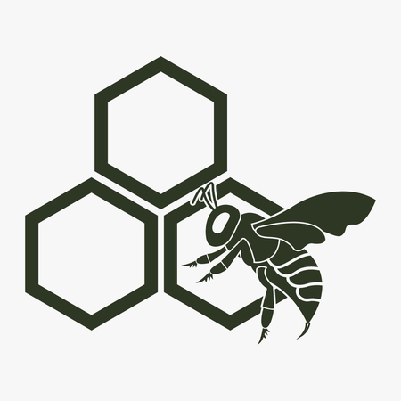 Honey vector icon. Bee on a part of honeycomb. Illustration