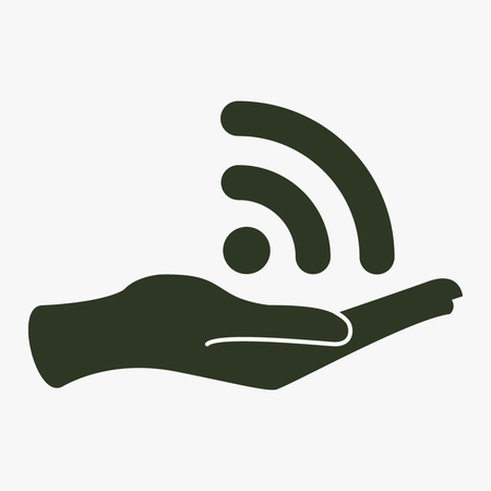 wireless signal: Wireless and hand vector icon.