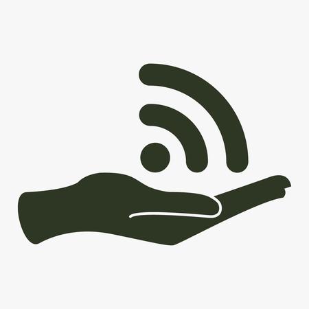 Wireless und Hand Vektor-Symbol. Standard-Bild - 76466113
