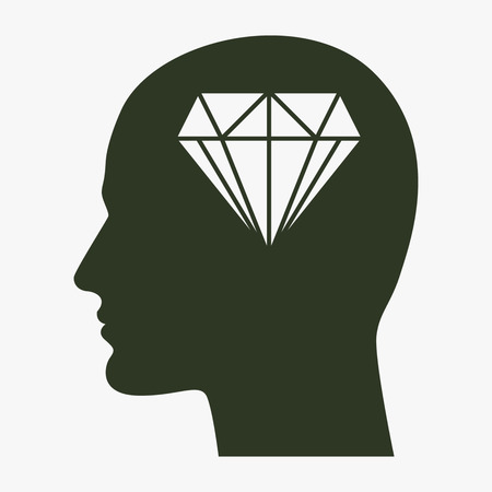 Human profile with diamond vector icon. Иллюстрация