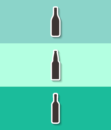 Three bottles of alcohol vector. A bottle of champagne, beer and wine sign.