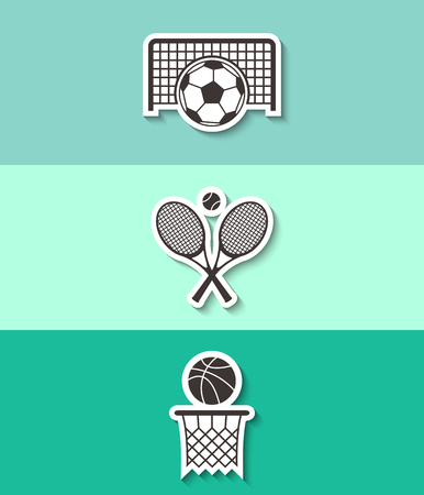 Three sport sign icon. Tennis rackets with ball, football gate and basketball basket symbol.