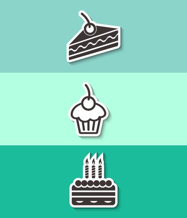 Three cakes flat vector icon. Sweet food symbol.