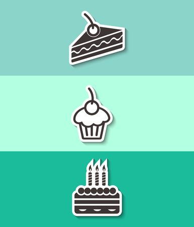Three cakes flat vector icon. Sweet food symbol.