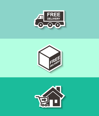 Free delivery sign on package box and truck vector icon. Three flat design icons with shadow.