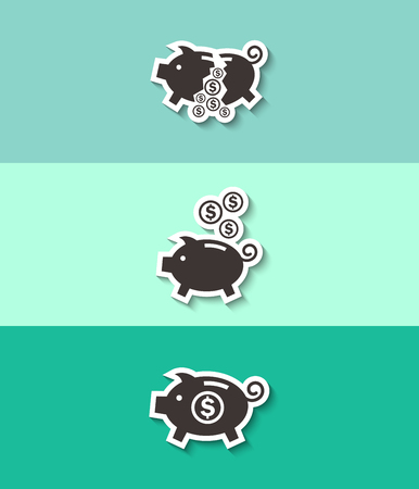Piggy bank vector icon. Moneybox sign.Three flat design icons.