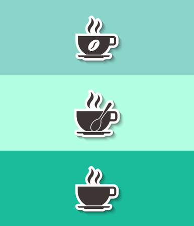 Coffee cup vector icon. Three flat design icons.