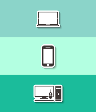 Computer case with monitor, keyboard, mouse, laptop and smartphone vector icon. Three flat design icons.