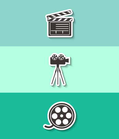 Movie clapper boards, film reel and cinema camera vector icon. Three flat design icons. Illustration
