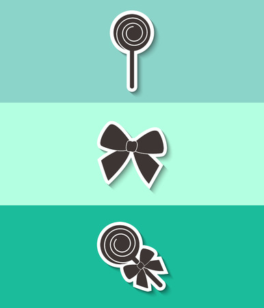Lollipop and bow vector icon. Three flat design icons.