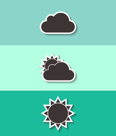 Cloud and sun vector icon. Weather symbol. Three flat design icons.