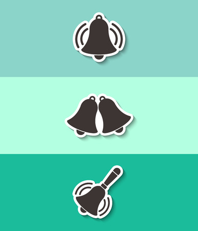 Bell vector icon. Three flat design icons.