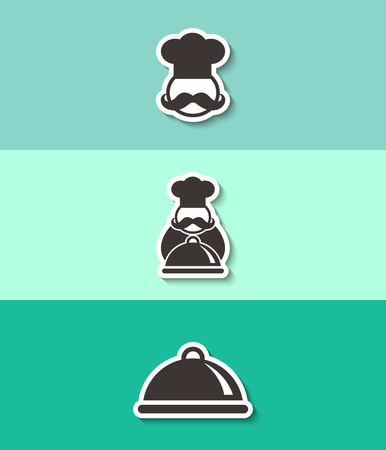 Chef with tray of food vector icon. Three flat design icons. Illustration