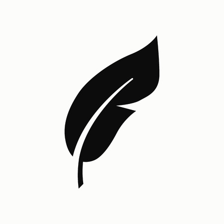 Feather flat design illustration. Retro pen symbol. Illustration
