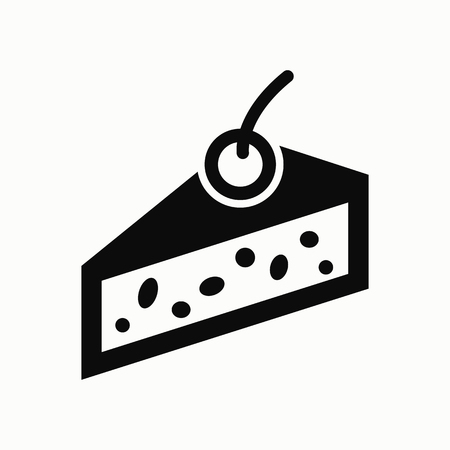 Cake with cherry flat design illustration. Vector.