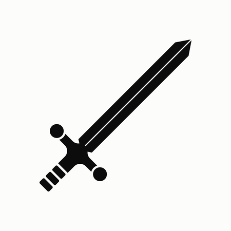 Sword flat design illustration. Simple vector icon.