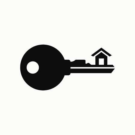 Key with house flat design illustration. Simple vector icon.