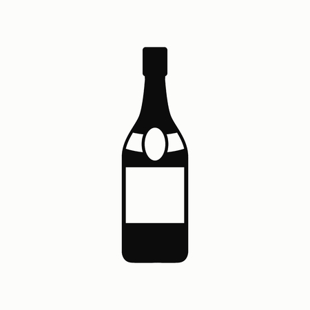 A bottle of champagne flat design illustration. Simple vector icon.