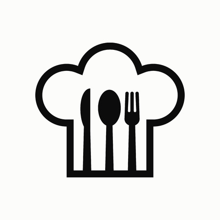Chef hat with fork, spoon and knife inside flat design illustration. Simple vector icon.