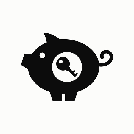 Pig with key flat design illustration. Simple vector icon. Illustration