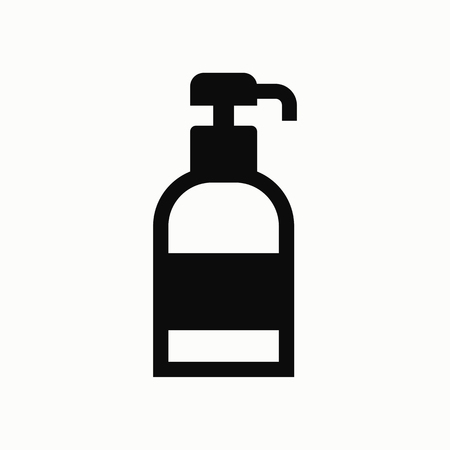 Shower gel, liquid soap, lotion, cream, shampoo, bath foam flat design illustration. Simple vector icon.