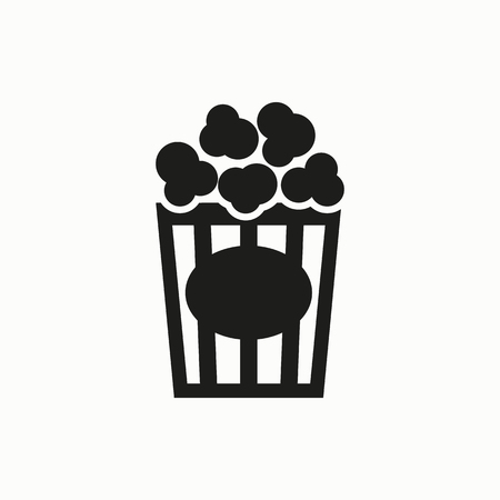 Popcorn flat design illustration. Simple vector icon. Illustration