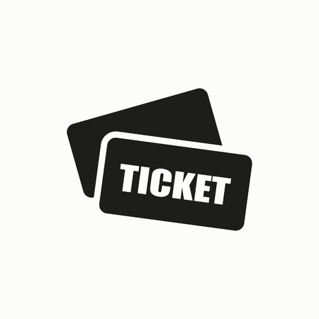Ticket flat design illustration. Simple vector icon. Illustration
