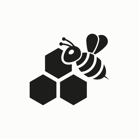 Honey vector icon. Bee on a part of honeycomb flat design illustration. Illustration