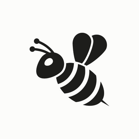 Ilustración de diseño plano de abeja. Icono de vector simple.