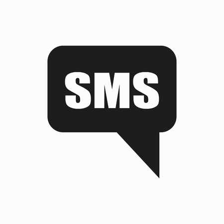 SMS cell phone text message flat design illustration. Simple vector icon.