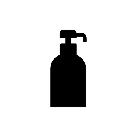 Gel, foam or liquid soap dispenser pump plastic bottle. Vector icon.