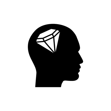 Human profile with diamond vector icon. Illustration